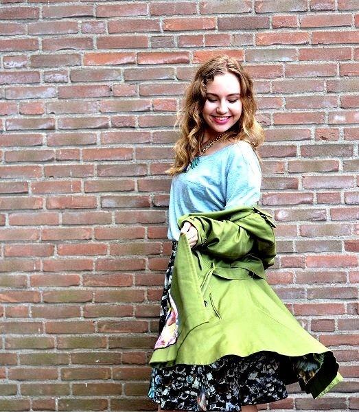 Flower Power Coat Ted Baker trenchcoat and scuba skirt